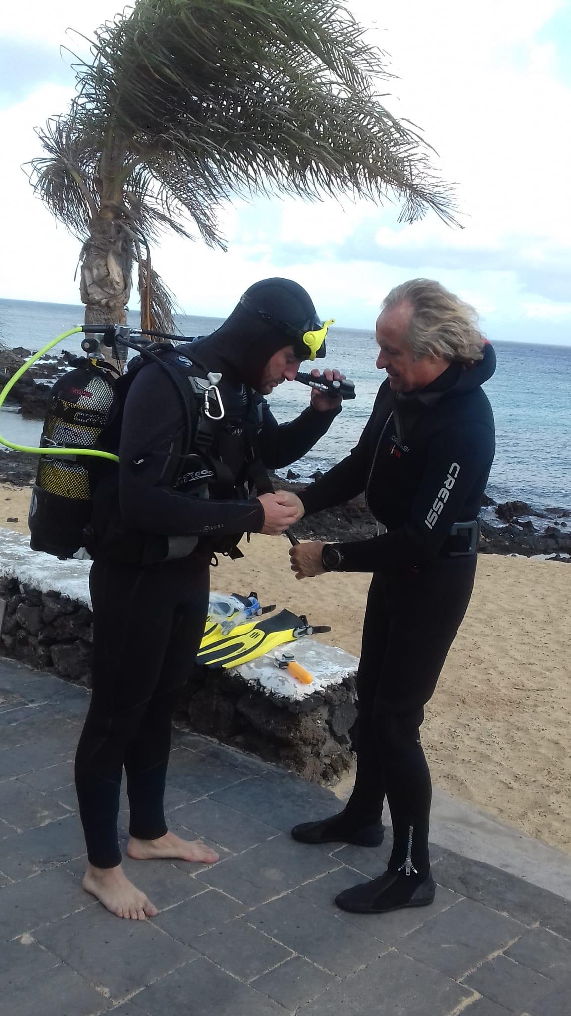 Blay preparando la inmersión